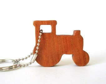 Tractor Silhouette Key Chain Wood Scroll Saw Outline Country Farm tractor Key Ring Cherry