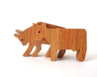 Wooden Cow Bull Miniature Toys Noah's Ark Animals Farm Animal Play Set Wood Cow Figurine