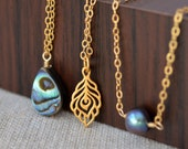 Gold Layered Necklace Set, Abalone Paua Shell, Peacock Feather, Freshwater Pearl Choker, Vermeil Jewelry, Free Shipping