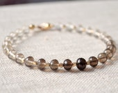 Smoky Quartz Jewelry, Beaded Bracelet, Gold Filled, Chocolate Brown Ombre, Shaded, Genuine Gemstone, Free Shipping