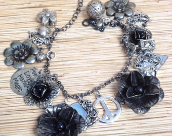 Black Roses and Dancing Skeletons Recycled /Upcycled Charm Bracelet