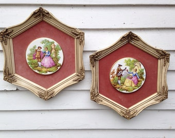 "Vintage Set French Country Ornate Framed Wall Pictures 14"" by 12"" Velvet Mat Ceramic Disk Hexagon"