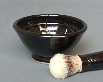 Shaving Bowl with Lather Ridges for Mens Traditional Shave Mug Handmade Pottery