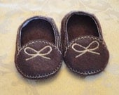 "18"" Doll Shoes - Dark Brown Moccasins"