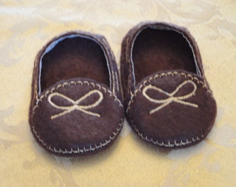 """18"""" Doll Shoes - Dark Brown Moccasins"""