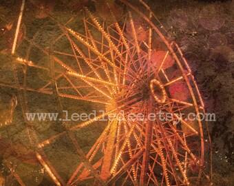 Ferris Wheel 1 - Vintage Style Original Photograph - Antique Inspired Carnival Photo Home Decor Sepia Wall Art Carnival State Fair