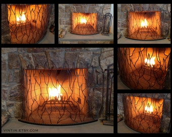 Made to Fit Your Fireplace Hand Forged Iron Borderless, Curved & Free Standing Flame Design Fireplace Screen by VinTin (Item # F-216)