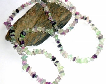 Rainbow Fluorite Long Chip Necklace Gemstone earthegy