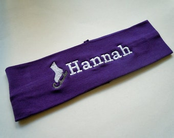 Ice Skate Stretch Headband PERSONALIZED and FULLY CUSTOMIZABLE with your name and colors and many sports available