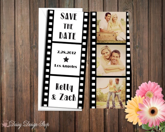 Save the Date Card - Vintage Film Strip with Photos - Double Sided