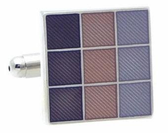 Three Color Check Square Cufflinks