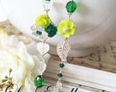 Asymmetrical earrings, Lime green earrings, Green flower earrings, summer floral Earrings, Mismatched earrings, Bohemian earrings - Mojito