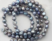 9-10mm Gray blue  peacock   Side Drilled Potato freshwater pearls  - Full Strand