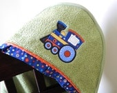 children's hooded towel train appliqué many colors available baby shower gift birthday gift