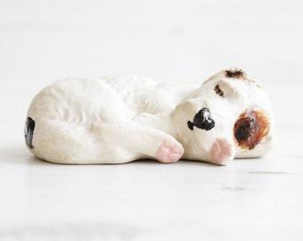 Dog Figurine Animal Ornament Terrier Sleeping Figurine Decoration cream brown white
