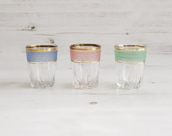 Vintage Shot Glasses - Green Blue Pink Barware  Drinking Serving Schnapps Glass Ware rainbow