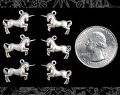 Six Antique Silver Plated Brass Unicorn Charms  S-C138