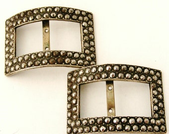 Antique French riveted cut steel shoe buckles