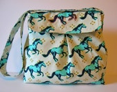 Mustang Horses Pleated Flap Shoulder Bag with Embroidered Detail