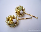 Vintage earrings hair pins - Beaded green chartreuse gold cluster upcycled hair accessories TREASURY ITEM