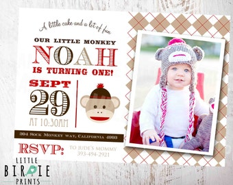 SOCK MONKEY INVITATION - Printable Birthday Party - Custom with photo Vintage feel