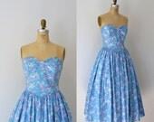 1980s Laura Ashley Dress / Strapless Floral Sundress