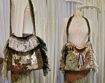 Handmade Boho Bag, shoulder bag with Zipper Closure, thick upholstery grade chenilles tapestry beads buttons lace embellished