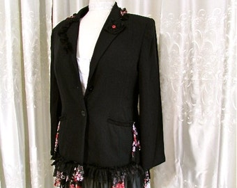 Black Blazer jacket, refashioned black jacket, tailored fitted, altered ruffle lace hem, black blazer, black jacket, MEDIUM