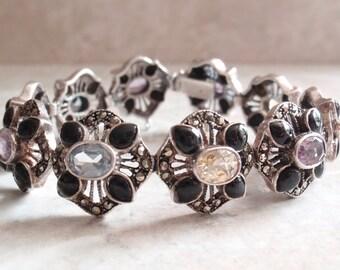 Multi Gemstone Bracelet Sterling Silver Black Onyx Citrine Amethyst Topaz Marcasite 6-3/4 Inch Link Vintage V0709