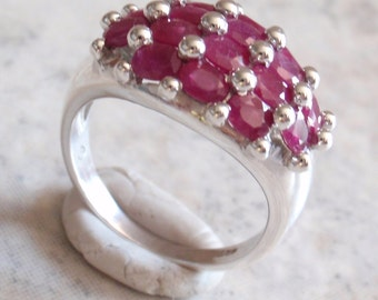 Sterling Ruby Ring Silver Oval Rubies Size 9 Vintage V0671