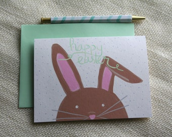 "Illustrated Easter Bunny ""Happy Easter"" Handmade Blank Greeting Card"