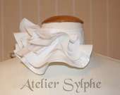 White fantasy ruffle neck asymmetric collar with delicate PVC fabric style back velcro closure