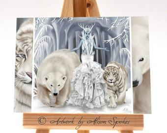 Tempest of Ice Queen Snow Witch Winter Fairy ACEO ATC Art Card