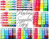 407 Yards of Grosgrain Ribbon - 1 Yard of every Solid and Polka Dot ribbon in Every Size and Color - 3/8, 5/8, 7/8, 1-1/2, 2-1/4, 3 inches