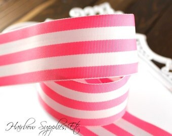 Pink and White Candy Striped 1-1/2 or 7/8 inch Grosgrain Ribbon - Choose 1 or 5 Yards - Hairbow Supplies, Etc
