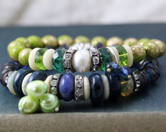 Stacking, layering, boho, hippie stretch bracelet, green and blue