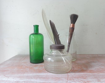Vintage Trio of Old Bottles - Green Glass/Imperial Pint/Oil Lamp Base - Vintage Vignette