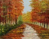 Original Painting Oil Palette Knife impasto on canvas Colorful Landscape Park Trees Red Alley Orange Yellow Gold home decor ART by Marchella