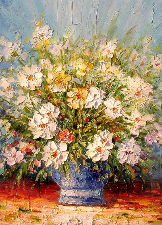 ORIGINAL Oil Painting My Little Garden 23 x 30 Flowers Palette Knife Colorful White Daisies Texture Blue Vase Orange ART by Marchella
