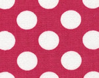 Fabric Finders Hot Pink with White Polka Dot Cotton Fabric