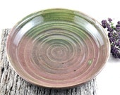 Handmade Ceramic Platter Serving Plate Clay Shallow Dish Fruit Bowl Salad Bowl Green Pink Unique Pottery Home Decor