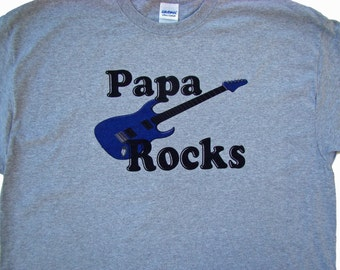 Papa gift-Men Tee shirt - Papa ROCKS - Red Guitar or Blue Guitar- Size S - 4XL- Father's day gift- custom printed tee shirt