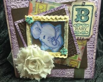 Baby boy card with blue lavender elephant shabby chic card handmade layered
