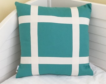 Schumacher Turquoise Linen Designer Pillow Cover Embellished With Trim Tape - Square and Euro Sizes