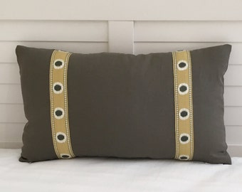 Gray Linen with Golden and Gray Trim Tape Designer Lumbar Pillow Cover