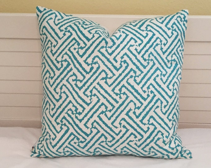 Alan Campbell for Quadrille China Seas Java Java Grande Turquoise on White Designer Pillow Cover  - Square, Euro and Lumbar Sizes
