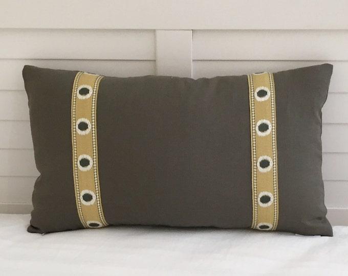 Gray Linen with Golden and Gray Trim Tape Designer Lumbar Pillow Cover