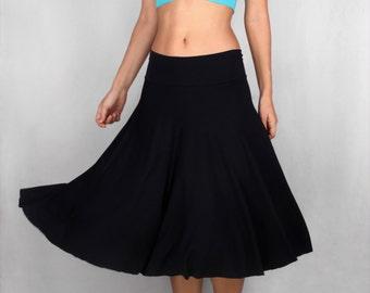 Miriam Spinning Skirt in Rayon Lycra in BLACK- Dance Wear, Practice Wear