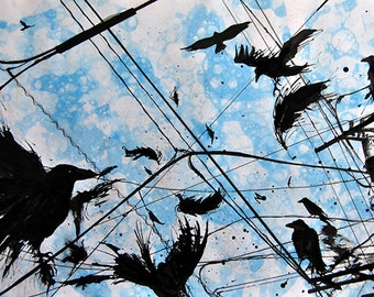 Murder, A4 Fine Art Watercolor & Ink Crows Birds Painting Print