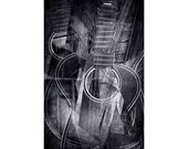 Folk Country Acoustic Flattop Guitar Cubistic Abstract A Black and White Fine Art Musical Photographic Composition